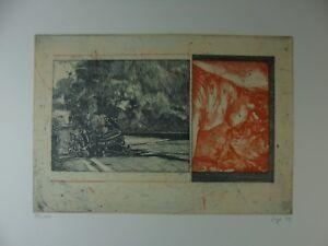 """Peter Sorge """"Autounfall und Liebespaar"""" Farbradierung, 1972, signiert"""