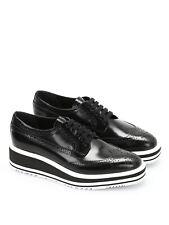 100% Authentic Prada Black Leather Platform Derby Shoes Size 36