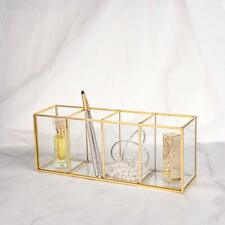 NEW Gold Glass Makeup Brushes Holder Cosmetic Tools Lipsticks Organizer Case Box