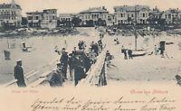 #353 - AK Gruss aus Ahlbeck Usedom - Seebrücke Strand mit Villen - gelaufen 1900