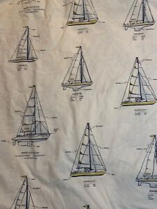 Pottery Barn Kids duvet cover full/queen sailboats outlines white blue yellow