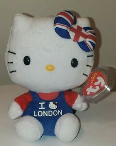 Ty Beanie Baby - HELLO KITTY (I Love London)(UK Exclusive)(6 Inch) NEW MWMT