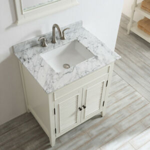 Large Bathroom 750mm  Vanity Unit Marble Basin Sink Storage Antique White