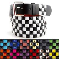 3-Row Metal Pyramid Studded Leather Belt 2-Tone Checker Punk Rock Goth Emo Biker
