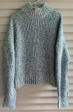 J.Crew Women's Marled Donegal Mockneck Sweater Mineral Blue Size XL X-Large