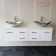 Bathroom Double Vanity Wall Hung Unit White Stone Top Silver Glass Basins 1500mm