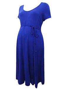Motherhood Maternity Royal Blue Short Sleeves Belted Classic Midi Tea Dress BNWT