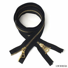 High Quality Zipper 2 Way Separating End, Black, Gold, Size 5, 36 inch