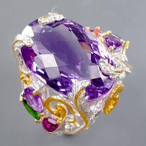 Luxury art Design Amethyst Ring Silver 925 Sterling  Size 6.25 /R178652