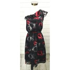 Miss Tina By Tina Knowles One Shoulder Ruffle Dress XS 0-2 Abstract Rose Pattern