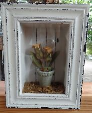 """8 1/2"""" x 7"""" x 2"""" Cottage Deco Wood Shadow Box Flower Pot & Flowers Wall Hanging"""
