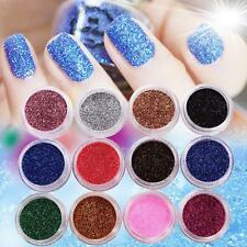 12 PCS MIX COLOR GLITTER DUST POWDER SET for Nail Art ACRYLIC TIPS DECORATION UP