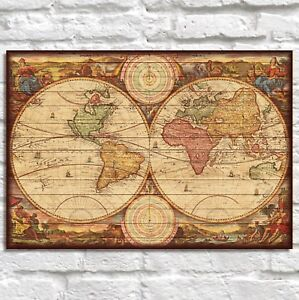 Wood World Map Antique map Brother Gift Husband Gift Panel effect wood wall art