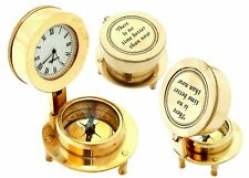 Nautical Shiny Brass Open Clock & Compass Vintage Maritime Collectibles