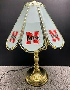 "Nebraska Huskers Table Lamp 3 Way Light Touch Glass Shade & Gold Metal Frame 22"""
