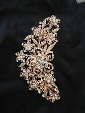 Bridesmaid Bridal Wedding Austrian Crystal Swiss Cut Diamond Hair Comb Rose Gold
