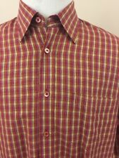 Bugatchi Uomo Men's Dress Shirt Size Large L Long Sleeve Button  Front Red Plaid