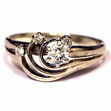 10k white gold .24ct SI2 I cluster diamond ring 2.6g 6 estate vintage antique