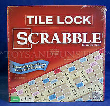 New - TILE LOCK SCRABBLE Word Game - Travel PLAY IN CAR & PLANE - Compact Size