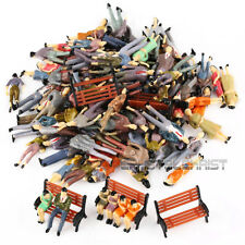 100 Seated Standing People Passanger Figures + 5 Bench Train Railway Layout OO