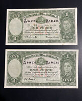 2 Consec Australian One Pound Banknotes!Ex-Fine Cond Wild-Cmbs 1952 W89346235-6