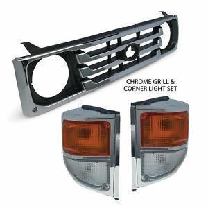 Grill + Corner Lights PAIR Chrome Fits Toyota Landcruiser 78 79 Series 1999-2007
