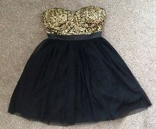 Lipsy London Strapless Sequinned Dress Size 8