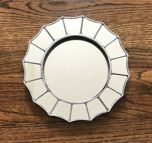"""Resin/Plastic Frame Distressed Silver Wall Decor Accent Hanging Mirror 9.75"""""""