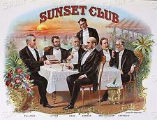 Vintage SUNSET CLUB Smoking CIGAR BOX LABEL Antique Era *CANVAS* Repro Art PRINT