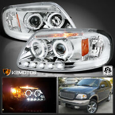 1997-2003 Ford F150 Expedition Halo LED Projector Headlights Left+Right