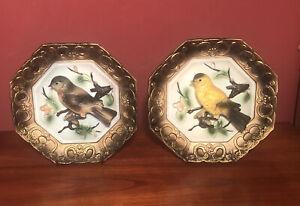 "Pair of Vintage Napco Napcoware Japan 3D yellow & blue bird wall plates 6 1/4"""