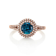 2.00Ct Exquisite Round Blue Topaz 14K Rose Gold Over Halo Ring Wedding Day Gift