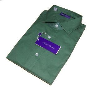 $425 Ralph Lauren Purple Label Mens Cotton Dress Shirt Solid Green Italy Large