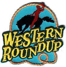 """WESTERN ROUNDUP"" IRON ON EMBROIDERED PATCH-COWBOY-HORSE-RODEO-WESTERN-SOUTHWEST"
