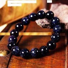 "fashion 10mm Natural blue sand stone romantic couple elastic Bracelet 7.5"" J59"