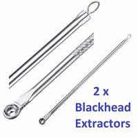 2 x BLACKHEAD BLACK HEAD REMOVER FACE NOSE COMEDONE PORE PIMPLE NEEDLE EXTRACTOR
