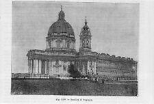 Stampa antica TORINO veduta della Basilica di Superga 1889 old print