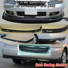 SPN Style Front Lip (PU) + CTR Rear Lip (PU) + Grill (ABS) Fit 99-00 Civic 2dr