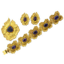 Vintage Buccellati 18k Gold Amethyst Bracelet Earrings Brooch Pendant Suite