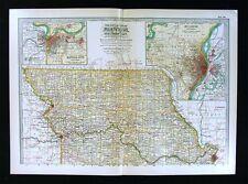 1902 Century Map N. Missouri St. Louis Kansas City Plan Columbia Jefferson City