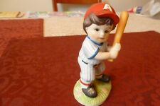 Homco Figurine- Little Boy Baseball Player At Bat- Great For A Desk-Or Gift