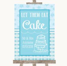 Wedding Sign Poster Print Winter Blue Let Them Eat Cake