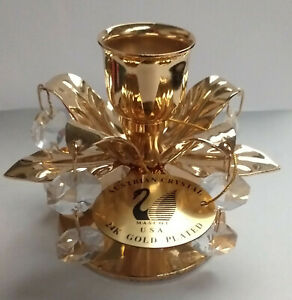 Mascot Crystal Delight 24k Gold Plate Austrian Crystal Candle Holder- Ex-Display