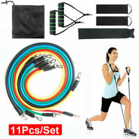 11 PCS Resistance Band Set Abs Yoga Pilates Exercise Fitness Tube Workout Bands
