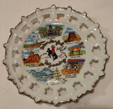 Vintage Decorative Collectible State Plate Of Wyoming 8 Inch Gold Rim