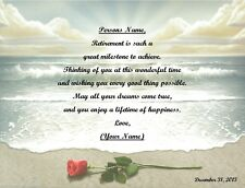 Retirement Gift for that Special Person~Personalized Poem Gift~ Rose on Beach