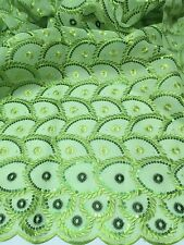 """GREEN ORGANZA+NET EMBROIDERY SEQUINS LACE FABRIC 52"""" WIDE 2 YARD"""