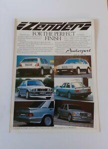 Zender Original Advert from 1985 - Advertisement Print Golf GTI BMW Mercedes 190