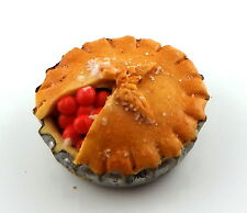 Dolls House Home Made Large Cherry Pie Miniature Accessory Handmade Food 1/12