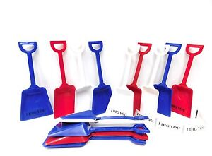 36 Toy Plastic Shovels Mix of Red White & Blue & I Dig You Stickers Mfg USA*